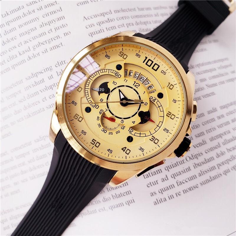 marca deportiva de moda reloj de cuarzo multi-tiempo zona de la fecha del cronógrafo automático de reloj del funcionamiento segundos de los hombres