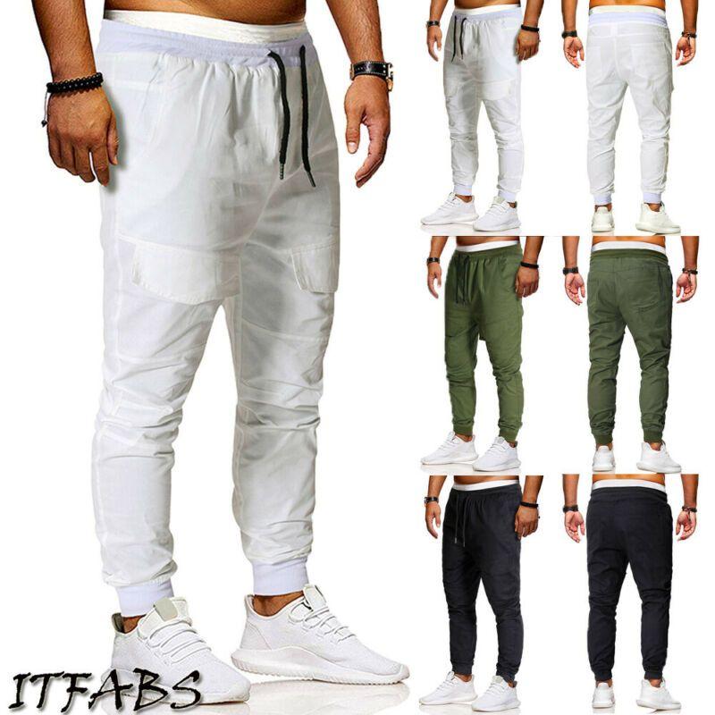 2019 pantalons cargo pour hommes slim fit jambe droite crayon crayon jogger pantalon simple
