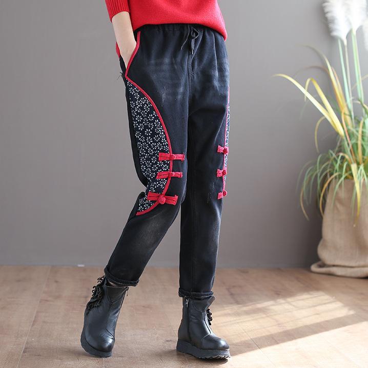 Elastico in vita pulsante Donne Retro Jeans Autunno Inverno Stampato sbiancato con coulisse in pile femminili di spessore Straigt pantaloni del denim