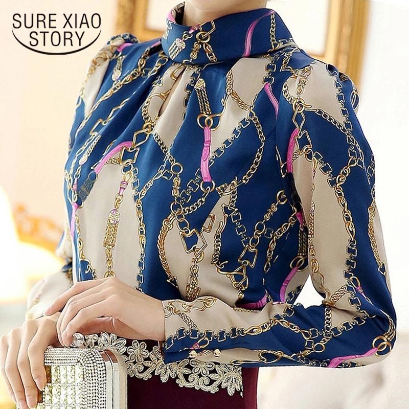 Mujer de la manera blusas 2019 camisa de la impresión de la gasa de blolouse Blusas Femininas mujeres de la oficina de las blusas de la camisa de manga larga de las mujeres 1817 50