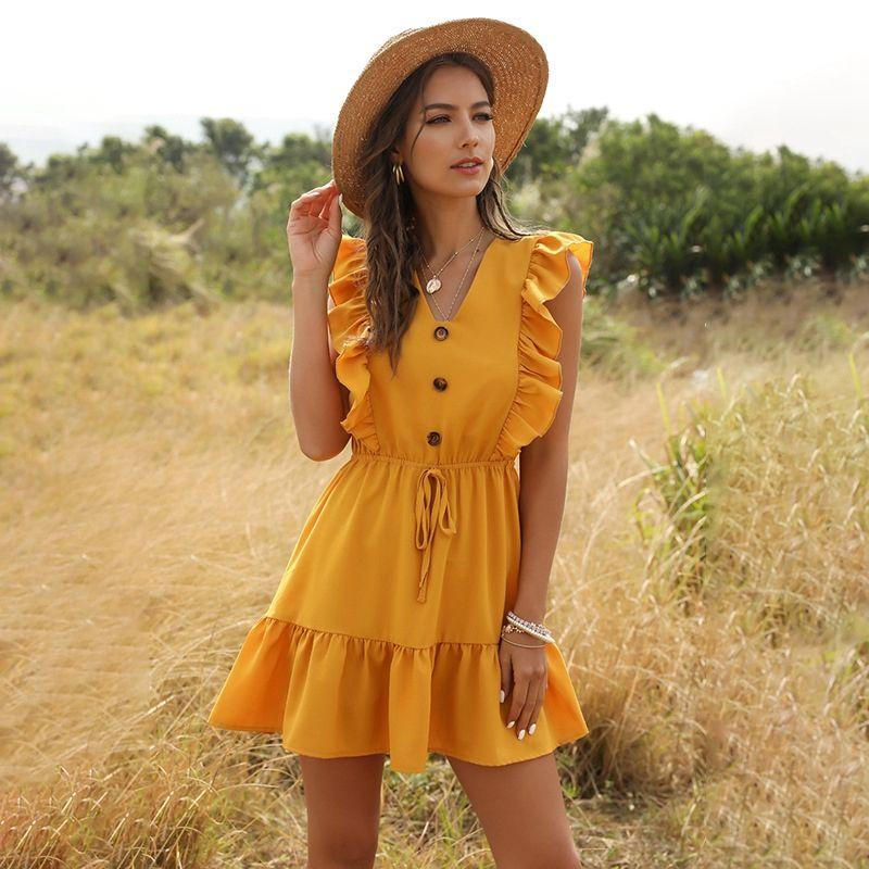 2020 Boho Amarelo Verão vestido plissado Mulheres Sexy Casual Ruffled V Neck mangas A Linha Belt Vestido Mini Beach Holiday Sundress