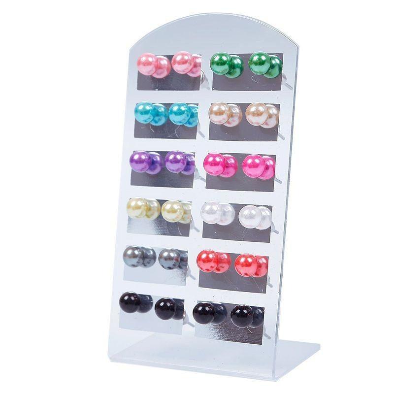 Kadınlar Takı Pendientes Moda Stud küpe için 12Pair / Seti Renkli 6mm İnci Küpeli ile Standı