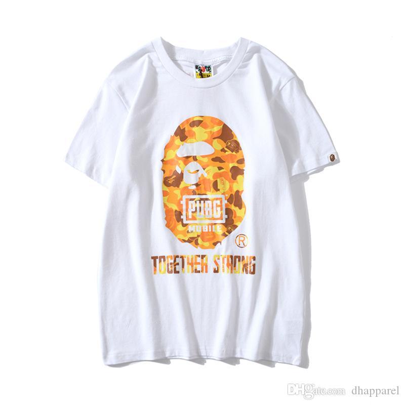 New Adolescente Verão Hip Hop Laranja Camo Impressão T-shirt Casual Rodada Neck manga curta soltas T-shirt Tops Femininos