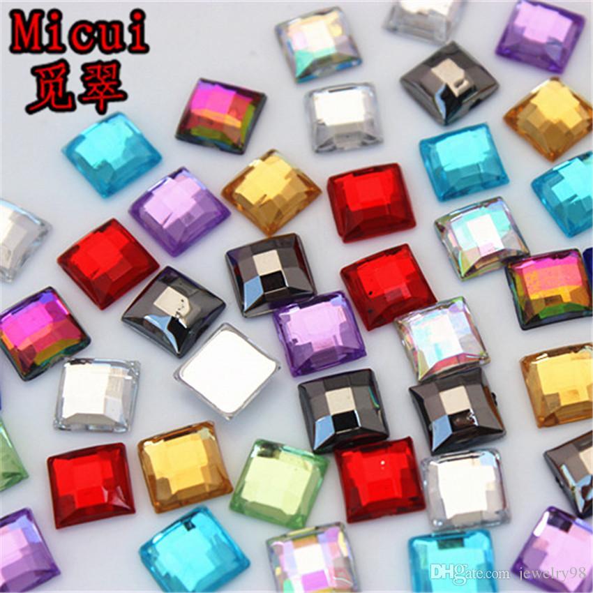 Micui 300PCS 8mm 크리스탈 믹스 컬러 아크릴 모조 다이아몬드 Flatback 광장 보석 스트 라스 스톤 의류 드레스 공예 ZZ714