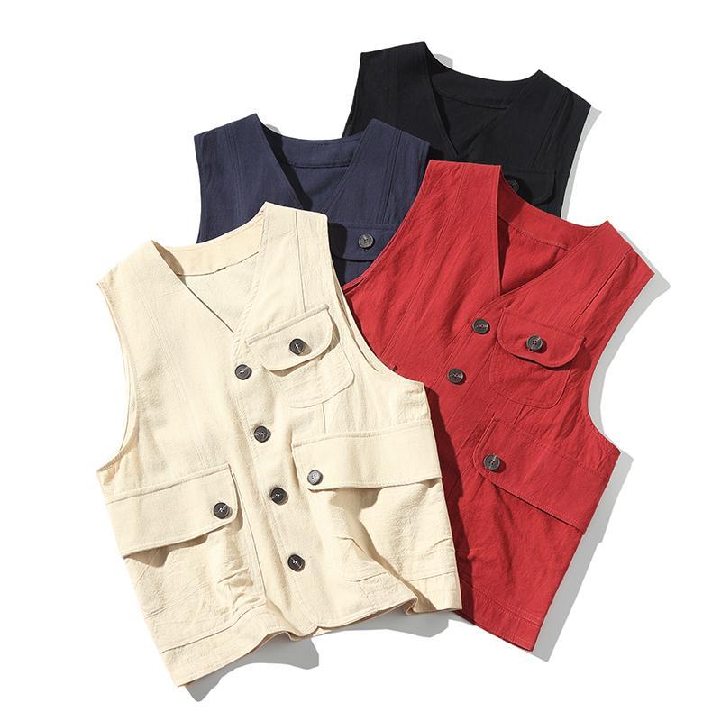 Мужчины Multi-карманный Классический Мужской летний Thin Мульти карманный Vest Фотограф Верхняя одежда Инструмент 4 цвета безрукавка Жилет Fo