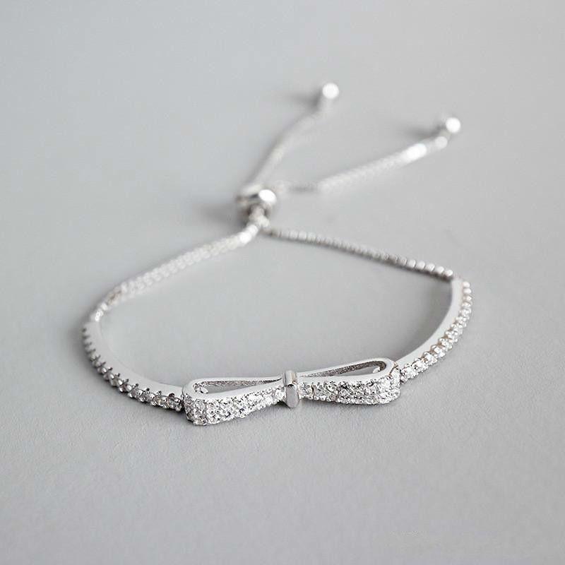Nouveau 100% 925 Sterling Silver Box Box Chaîne Réglable Balle Tassel Zircon Bowknot Bracelets Pour Femmes Étudiants