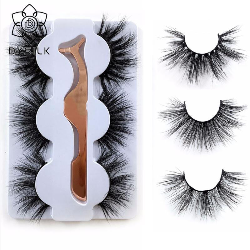 DYSILK 3Pairs 25mm Wimpern 3D Mink Wimpern 100% Cruelty frei Lashes Wiederverwendbare natürliche falsche Wimper Lockenwickler Beliebtes Makeup