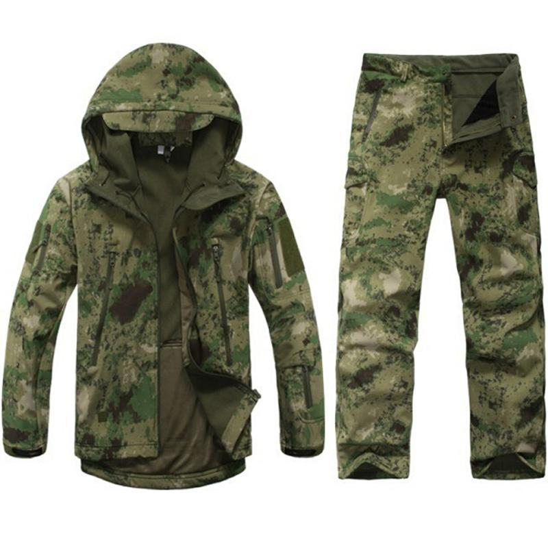Tactical soft shell fleece jacket Men outdoor waterproof camo hunting clothes Suit camouflage army jackets sports coats