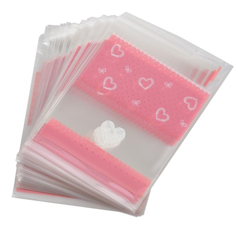 100 PCS Lovely Cute Bowknot OPP Self Adhesive Cookie Bakery Candy Biscuit Roasting Treat Gift DIY Plastic Bag (Heart + Lace Desi