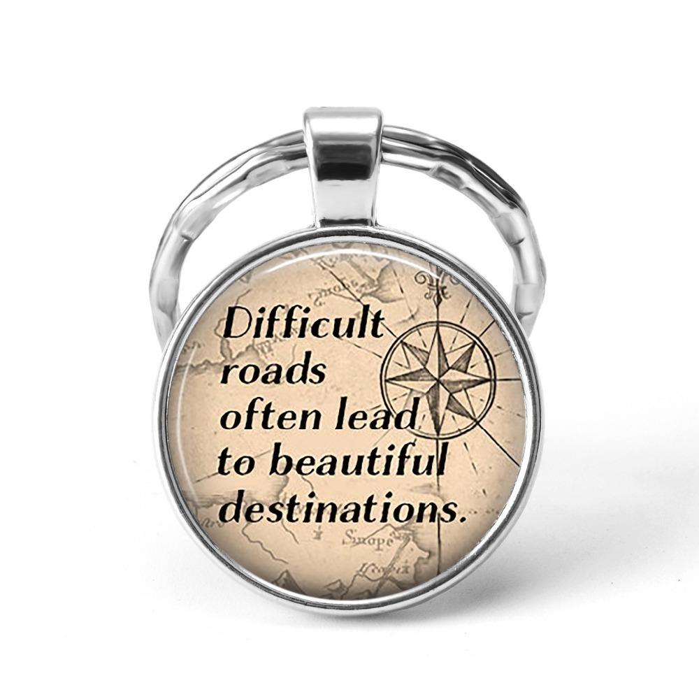 Zor Yollar Genellikle Güzel Hedeflere Kurşun Alıntı Anahtarlık Cam Cabochon Gümüş Araba Anahtarı Zincirleri El Işi Takı