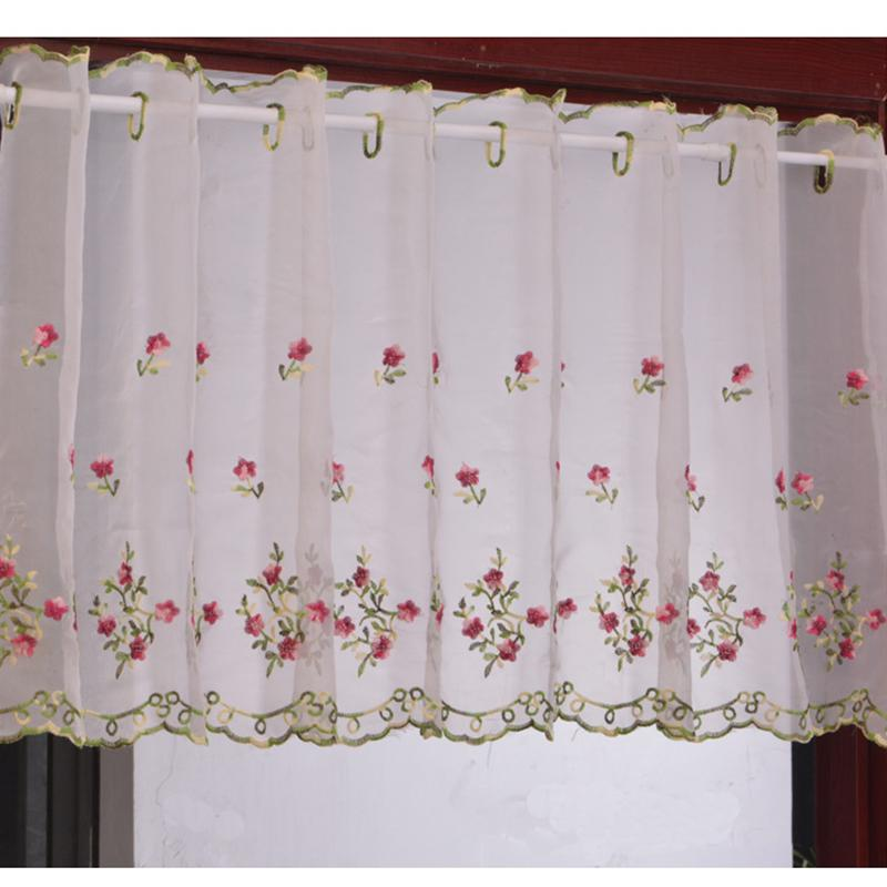 2019 Embroidered Floral Short Curtains For Kitchen Valance Pelmet Voile  Curtains For Living Room Bedroom Door Window Blinds Gordijnen From  Miniatur, ...