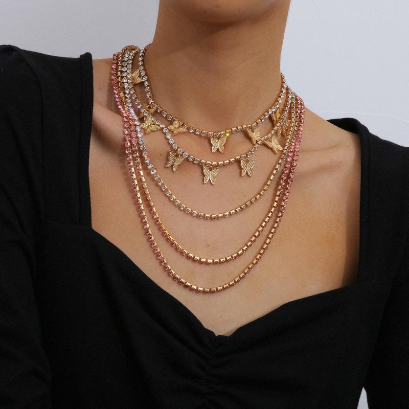 2020 vereist Funken aus cz rosa pinky Frauen Mädchen Schmuck cz Tenniskette Hip-Hop-kühlen rosa Schmetterling Halskette bling