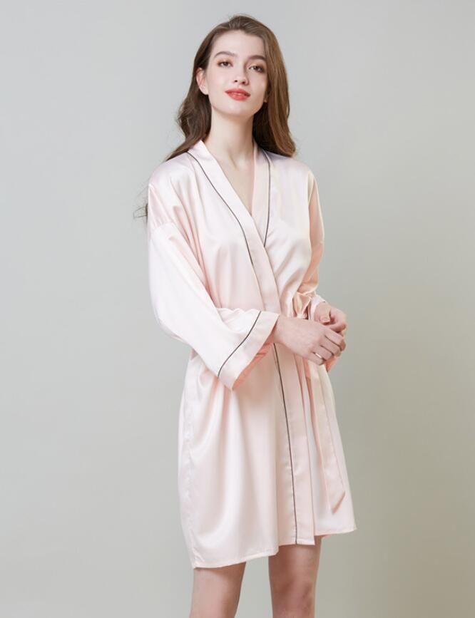 Ladies Verão Pijamas fina vestido beleza da noiva fraque Silk Kimono Robe Pijamas Nightdress Pijamas quebrado
