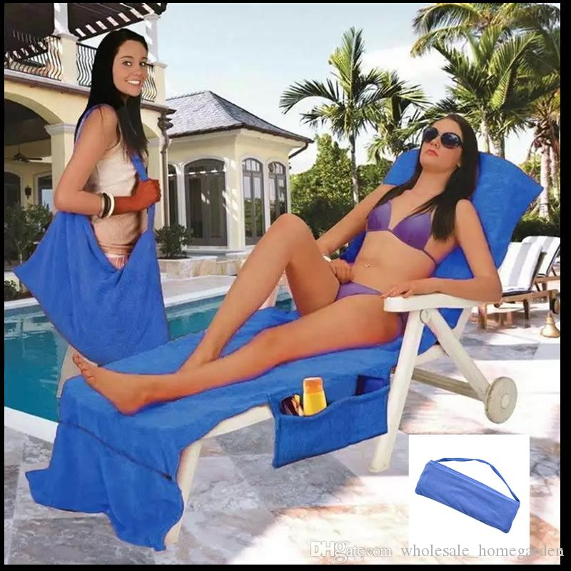 RTS 10COLORS Beach Chair Cover With Pocket Strap Blanket Portable Quick-Dry Microfiber Double Layers Beach Chair Towels Bed covers