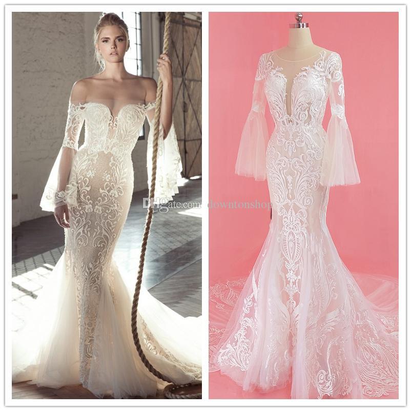 Hot Sale Boho Beach Wedding Dresses Long Bell Sleeve Lace Flower Bridal Gowns Plus Size Hippie Bohemian Wedding Dress Cheap Vestido De Novia Weding