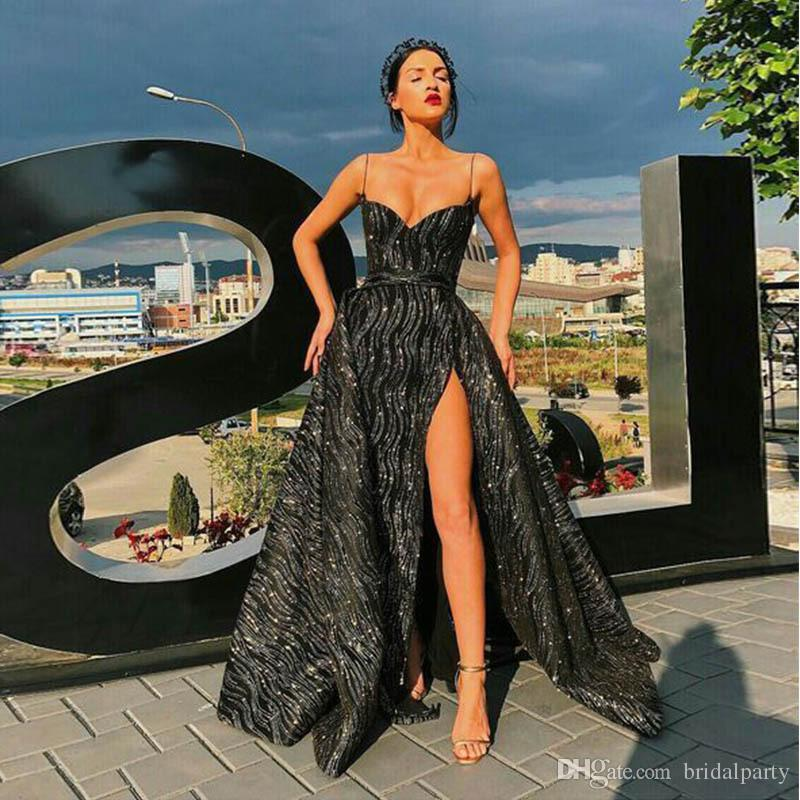 2019 Robe de soirée Correa de espagueti Vestidos de noche Sexy Side Split Sparkling Sequinned Prom Dress A Line Vestidos formales