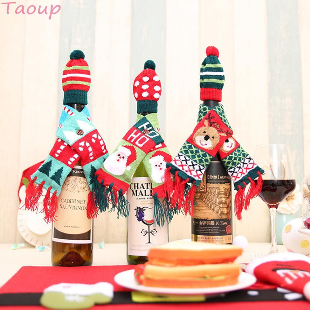 Taoup Babbo Natale Ciondoli con coperchio per bottiglia di vino di Natale Ornamenti pendenti Borse per portabottiglie di Natale Decorazioni natalizie per la casa Noel