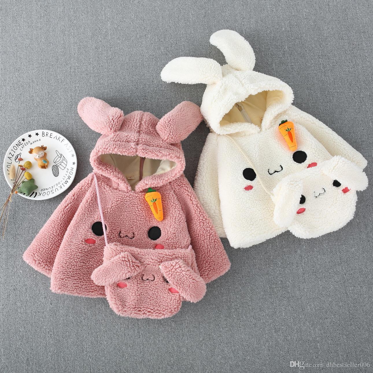 2019 new Korean Rabbit Ear maomao Coat for Kids Presents Rabbit Bag Girl Skirt Winter Hoodie Jacket For Children