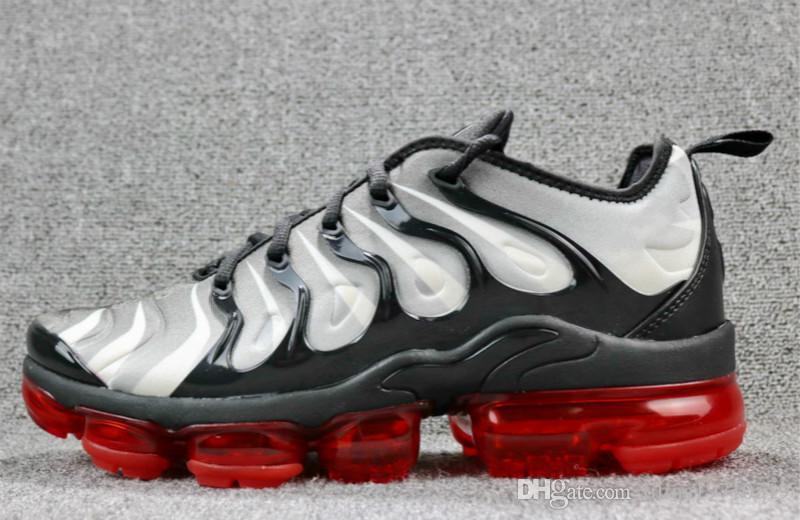 Zapatillas de vapormex tn plus de alta calidad para niño 2018 '' zapatillas de running para jóvenes negro blanco blanqueado zapatillas de deporte aqua