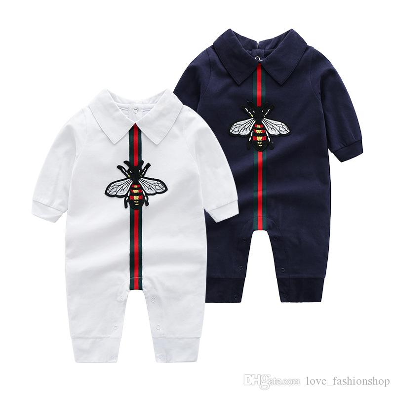 Retail High Baby lapel Embroidery Romper 0-2Y Cotton Rompers Newborn baby bodysuit Children one-piece onesies Jumpsuits climbing clothes