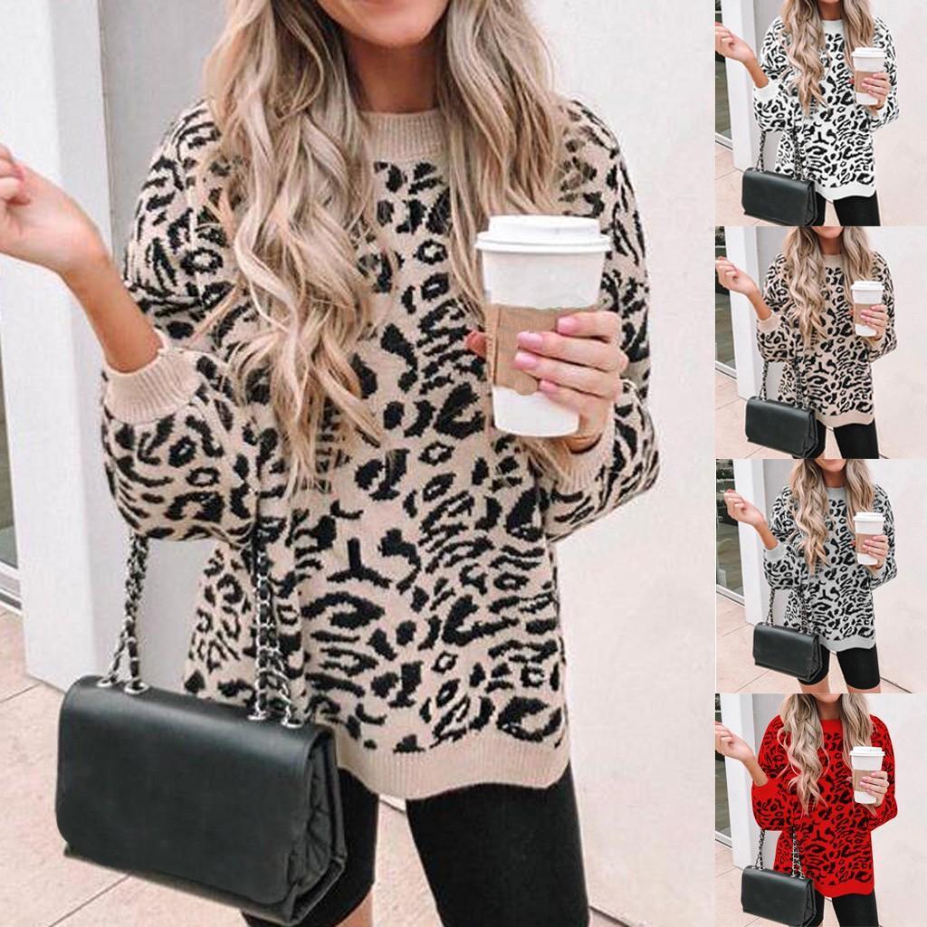 свитер женщин O-образным вырезом леопардовый пуловер с длинным рукавом Сыпучие вязаный свитер тянуть сексуальный фам sueter Mujer Invierno 2019