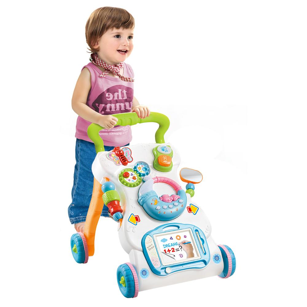 2020 Multifunctional Baby Walker Toys Toddler Trolley Sit-to-Stand ABS Musical Walker with Adjustable Height for Toddler