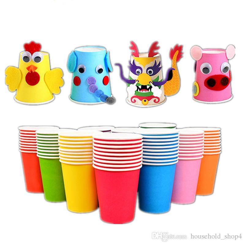 10 adet Saf Renk Kağıt Bardaklar Parti Tek Kullanımlık Suyu Fincan DIY Dekorasyon Bebek Duş Çocuklar Doğum Günü Düğün Piknik Sofra Kaynağı