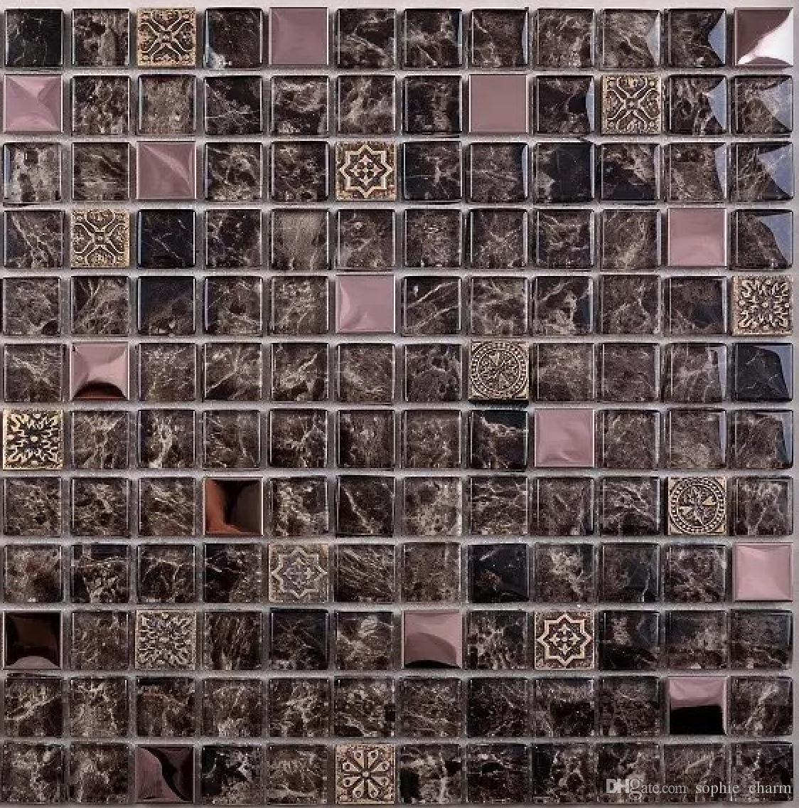 - 2020 Brown Glass Mosaic Tile Backsplash SSMT410 Rose Gold