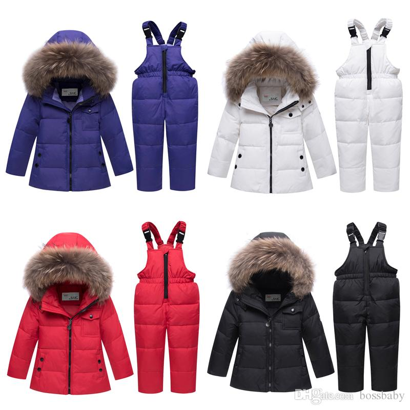 Kids Down Jacket Set Baby Boy Solid Raccoon Fur Collar Coat Kids Warm Clothes Infant Baby Girls Winter Down Trousers Outfits Suit 06