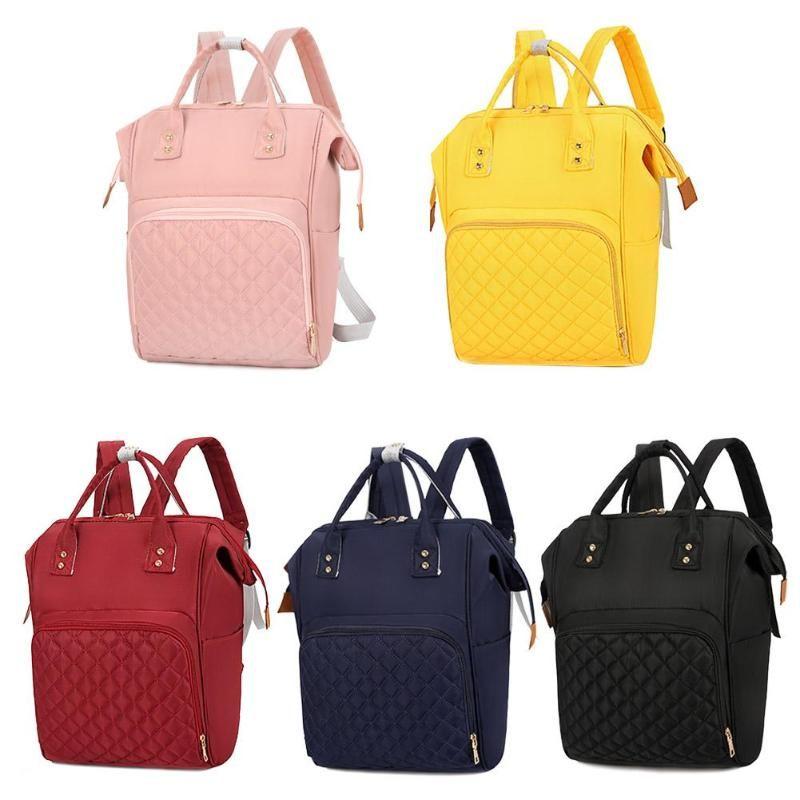 2019 saco de fraldas de Moda de Nova Mommy Backpack Pure Color Mommy viagem Mochilas Grande Nylon Maternidade Baby Care Nursing sacos das fraldas