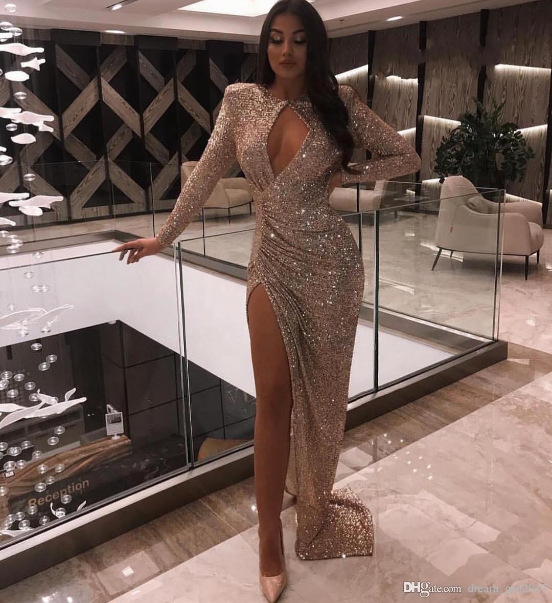 Сексуальное серебро с длинным рукавом Mermadi Вечерние платья 2020 Sequined High Split Вечерние платья Формальные платья Вечерние платья халата де soirée