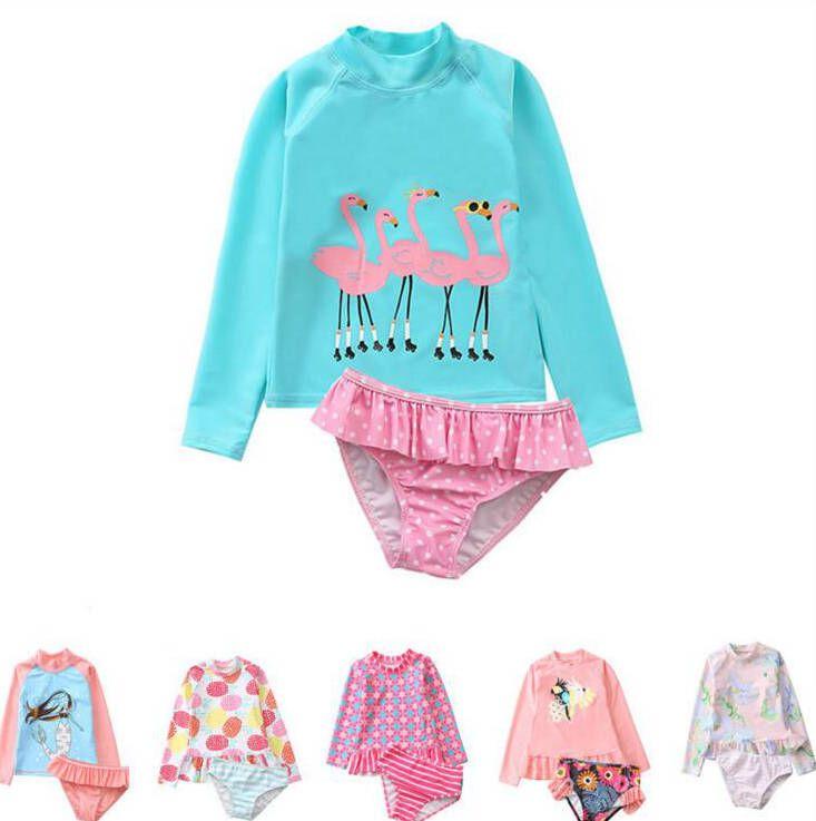 فتاة ملابس الاطفال عالية الخصر بيكيني الطفل طباعة زهرة ملابس الصيف موضة مايوهات سباحة أعلى الملابس الداخلية فلامنغو DYP413