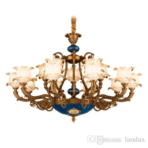 أضواء الثريات الأوروبية الأمريكية الفاخرة الملكي الرجعية قصر led كريستال الثريا أدى أضواء قلادة ل فندق فيلا المنزل الديكور