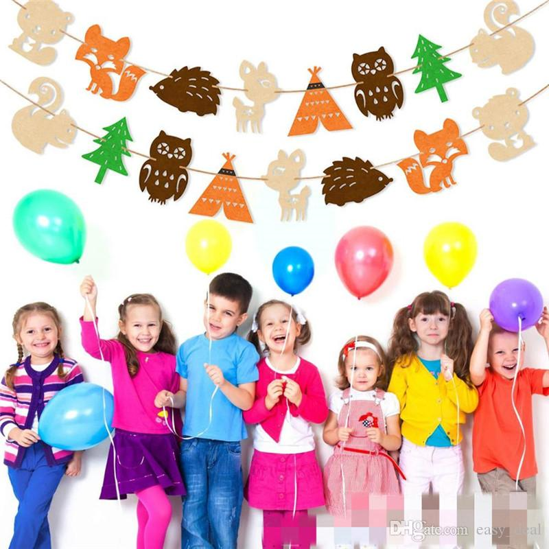 yq01363 decorazione decorazioni del partito animali creatura dei boschi Banner Buon compleanno Baby Shower figli preferiti Foresta Party Animal