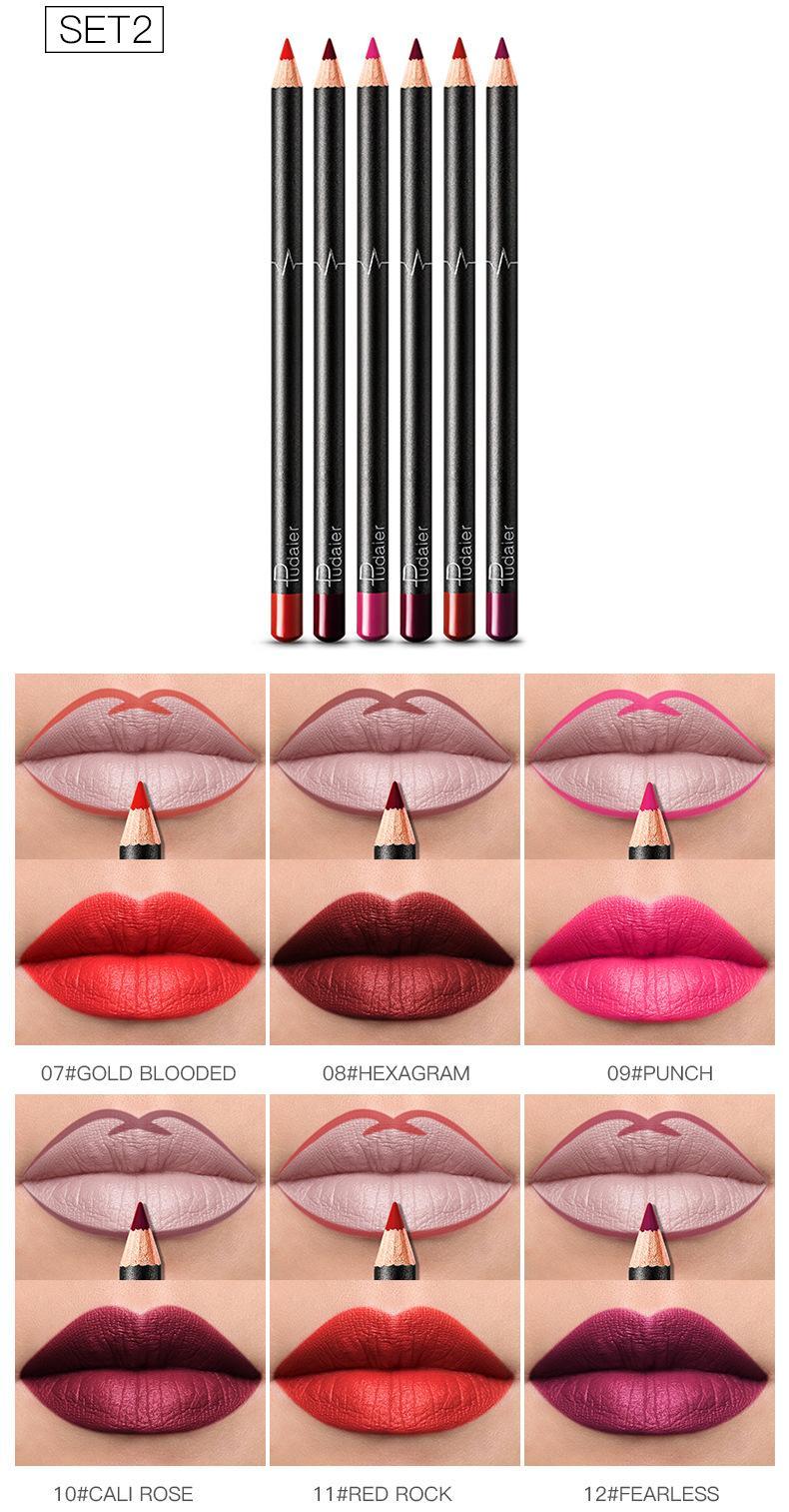 36 Colores Lápiz de labios Matte Lipstick Set Impermeable Largo Duradero Matt Nude Línea Labial Natural Hidratación Ingredientes Esquema Labios Labios