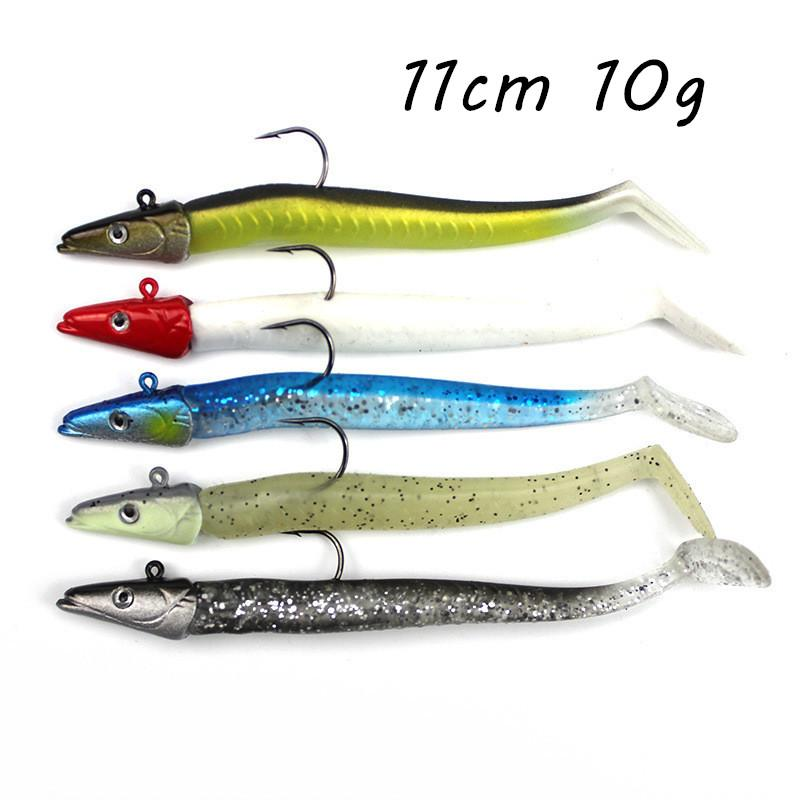 5pcs/lot Jigs Hook Soft Baits & Lures 5 Color Mixed 11cm 10g Lead Head Fishing Hooks Pesca Fishing Tackle SF_37