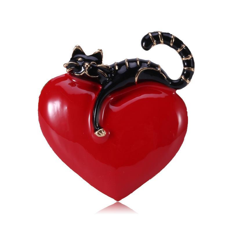 Toptan Kedi Broş Aşk Kalp Broş Erkekler Kadınlar Kız Aksesuar Broş Pin Ücretsiz Kargo