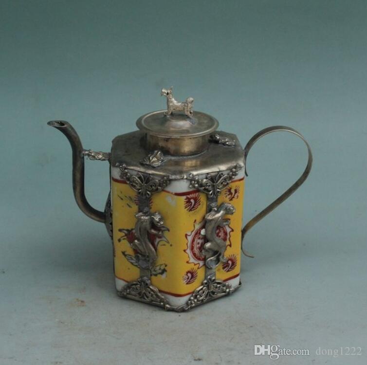 China, hecho a mano, olla de plata, caldera, paquete, plateado, porcelana, porcelana, amarillo, tetera, adornos
