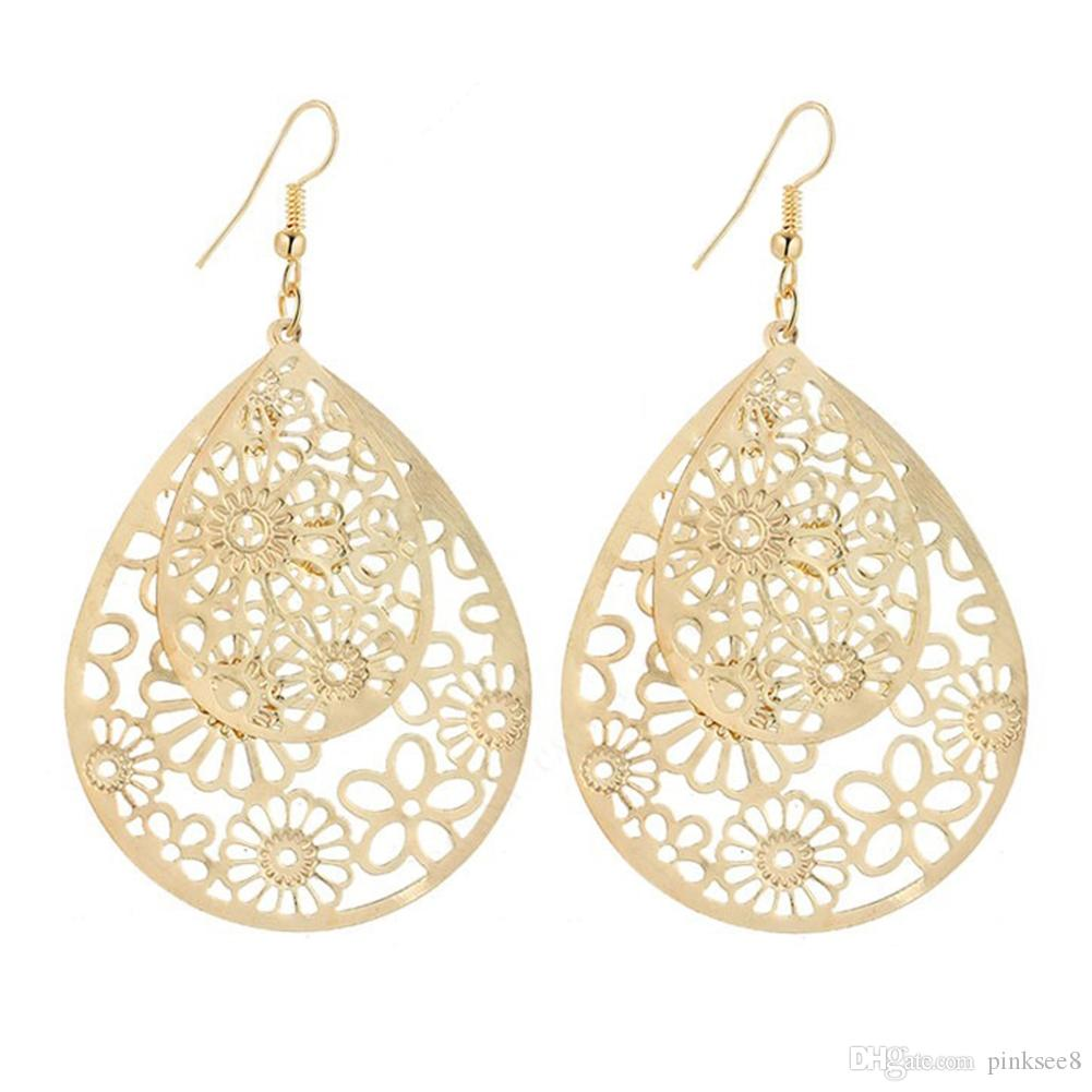 Double Size-Wasser-Tropfen Hohle Retro wilde Ohrringe Indian Style Design Einfache Ohrringe weibliche populäre Ohrringe Schmuck