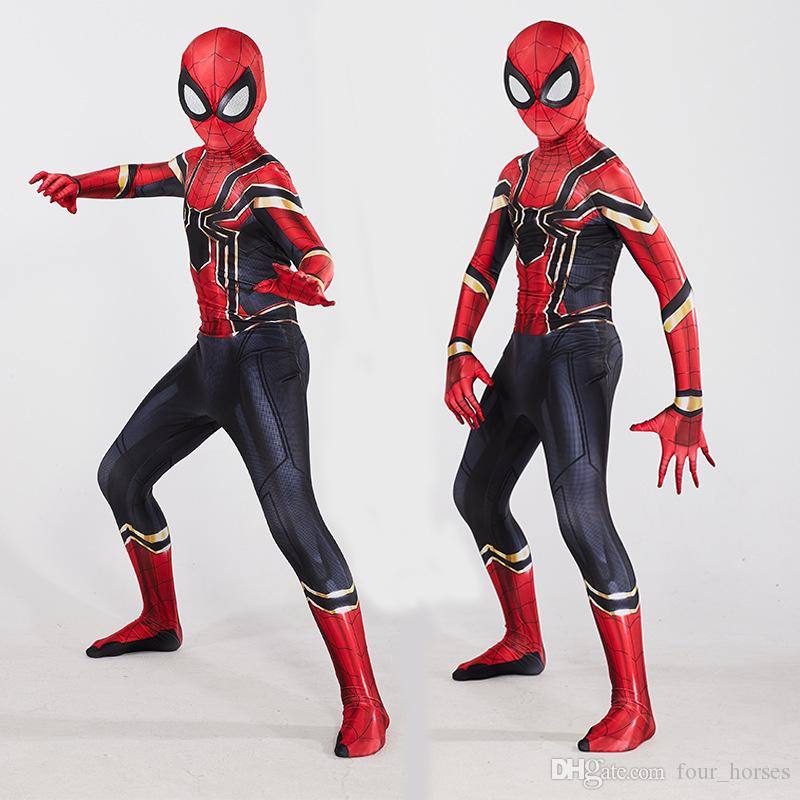 Freies Verschiffen Eisen-Spiderman-Kostüm Cosplay Marvel Avengers Superheld-Kostüm Avengers Assemble Spiderman Tights Theme Kostüm Kinder Erwachsene