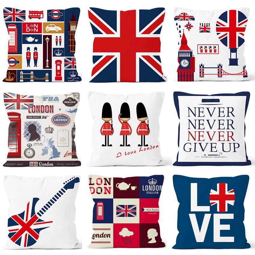 45 * 45 см Высокое качество ткани Британский Стиль наволочки Флаг гитара шаблон Наволочка Blended Cushions Дизайн Чехол Home Hotel Decor