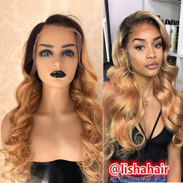 Dark roots 1b 27 honey blonde body wave hair Lace Front Wigs Pre Plucked ombre Colored body wave wig for Women
