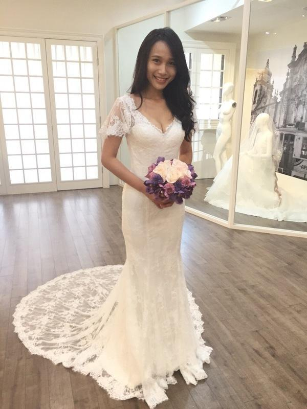Setwell V-neck Mermaid Summer Beach Wedding Dresses Short Sleeves Fully Lace Appliques Sexy Backless Bridal Gowns