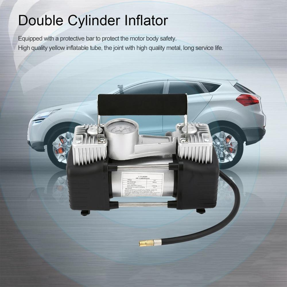 DC 12V Portable Super Flow Car Tire Tyre Inflator Metal Vehicle Auto Electric Pump Air Compressor Heavy Duty Set