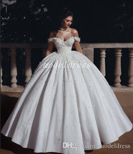 Prenses Arabric Balo Gelinlik Off Omuz Kat Uzunluk Çiçek Boncuk Kilisesi Bahçe Gelin Kıyafeti Plus Size Vestido de novia 2020