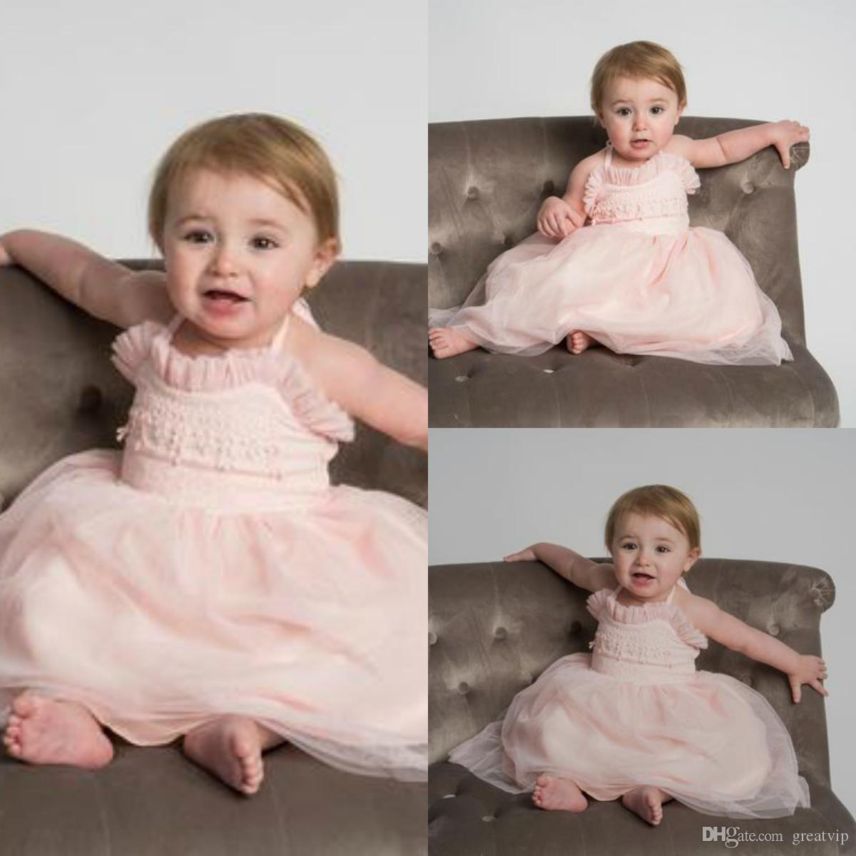 Pink Halter Fiori Ragazze Abiti di pizzo Tulle Piano Lunghezza Principessa Toddlers Primi abiti da comunione Neonati Vestito da festa Abiti da battesimo