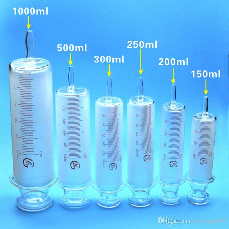 150ml / 200ml / 250ml / 300ml / 500ml / 1000ml Todos seringas de vidro Grande dispositivo salsicha Vidro amostra extractor de vidro Injector de grande calibre