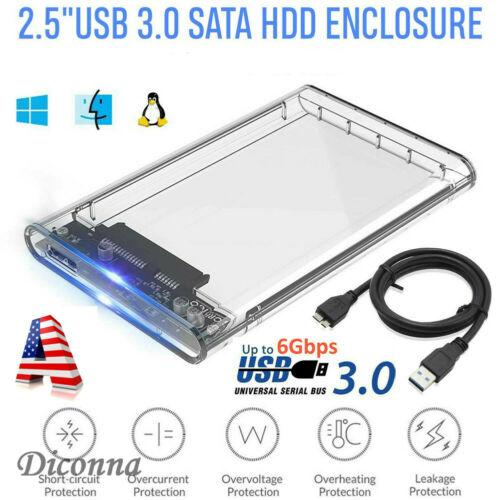 """USB 3.0 2.5/"""" SATA3 6Gbps Hard Drive Enclosure Caddy Case For External HDD//SSD"""