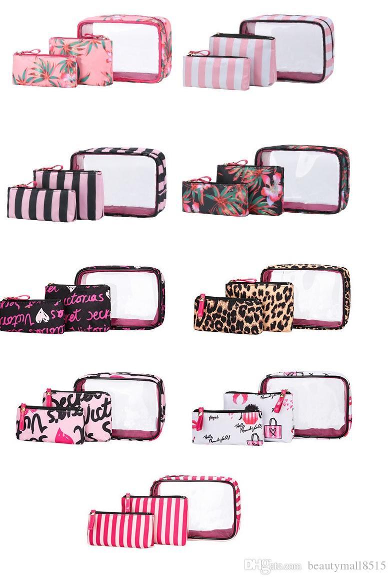 Kits de sacs de cosmétiques PVC portables en 3pcs Sacs de maquillage élégant étanche à l'eau extérieure Ensemble Taille de Voyage Fourniture directe Fourniture de bijoux Storage Setting Libre DHL Ship