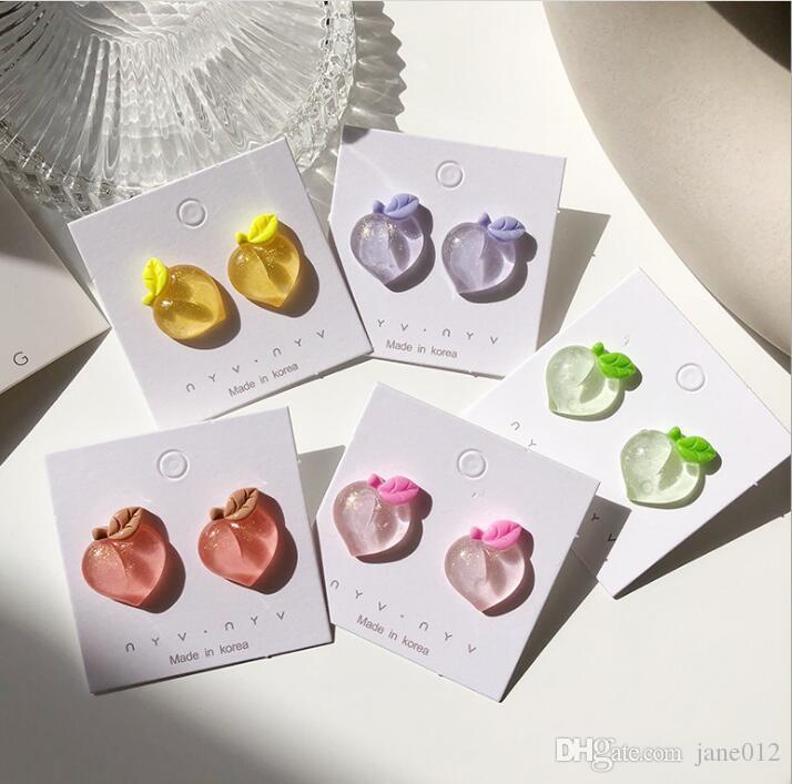 Cute Girls Stud Pendientes Coreano Melocotón Corazón Acrílico Pendientes para Mujeres 925 Silver Ear Nail Fashion Jewelry Wholesale